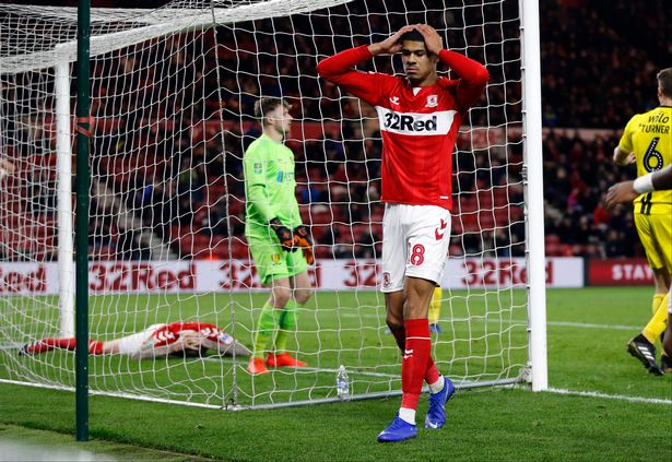 Aftermath of Aden Flint's missed chance for Middlesbrough FC in their game against Burton Albion in the Quarter Finals of the Carabao Cup