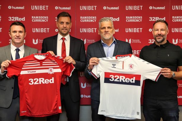 New Middlesbrough Head Coach Jonathan Woodgate (2nd from left) alongside his new coaching team (from left to right) Robbie Keane, Leo Percovich and Danny Coyne