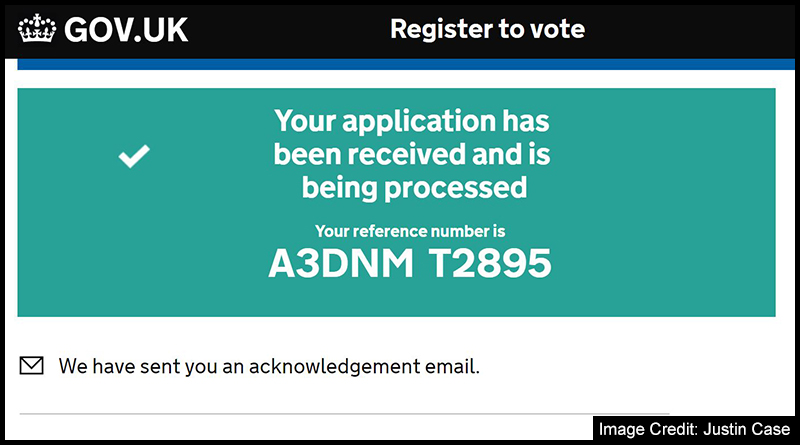Registering to Vote application confirmation page