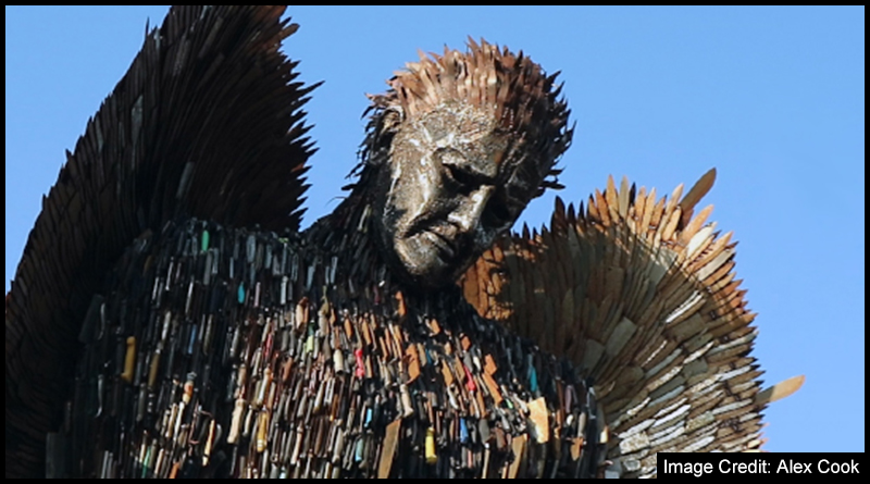 The Knife Angel on display in Middlesbrough is a sculpture made of over 100,000 blades to highlight the pain caused by violent crime