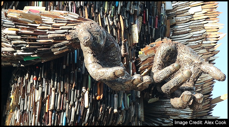"""The Knife Angel by Alfie Bradley poses the simple question of """"why?"""" to the subject of knife crime"""