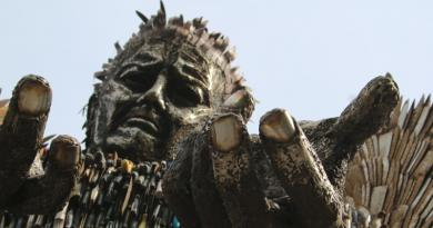 The Knife Angel by Alfie Bradley, which is on display in Centre Square, Middlesbrough until the end of August.