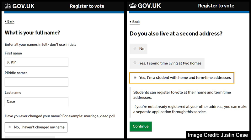 Registering to vote name and student address capture