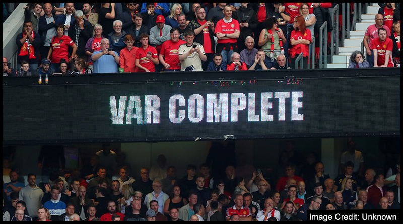 Manchester United fans are informed a VAR check has been completed at Old Trafford