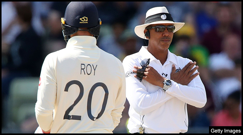 Umpire Joel Wilson seen overturning a decision in the current Ashes series follow a DRS review