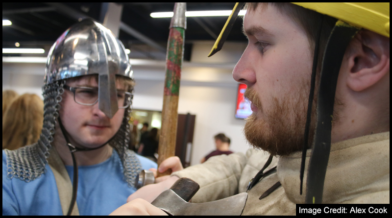 Scout (left) and Shield-breaker (right) from the Battle Reenactment Society at Teesside Universities Societies Day