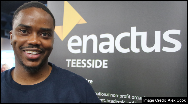 Vice President of Enactus Teesside, Takura Sibanda at Teesside Universities Societies Day