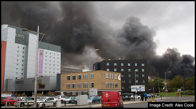 Smoke from the fire could be seen right across central Middlesbrough