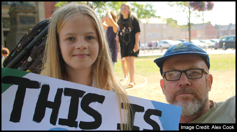 Haddie Mills and her dad David who joined today's Student Strike calling for action on Climate Change