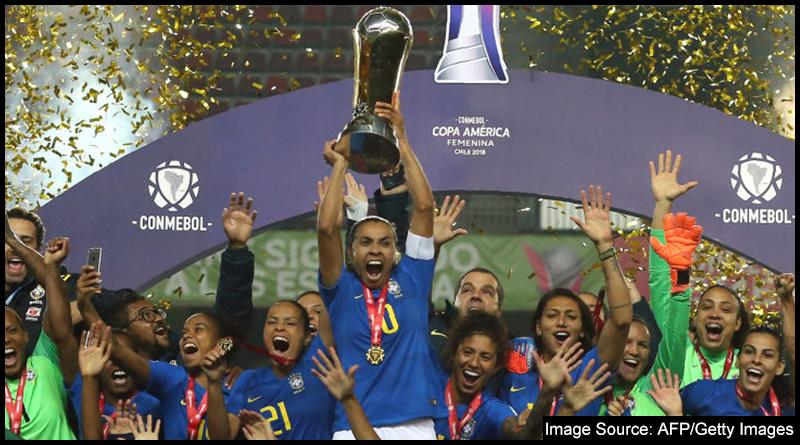 Brazil captain Marta lifts the 2018 Copa América Feminina