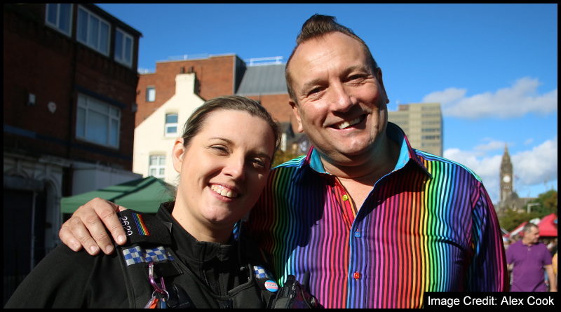 Owner of Sapphires, Middlesbrough Matthew Armstrong (right) alongside Cleveland Police's LGBTQ+ Community Officer Dani Gibson