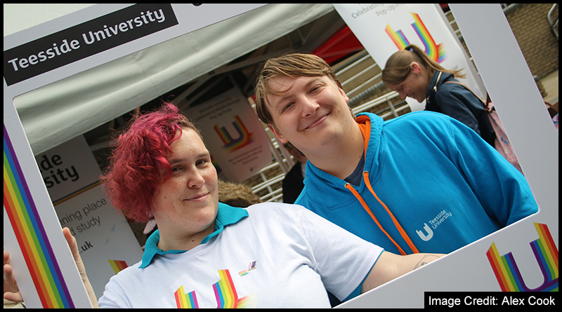 Anna Mockler alongside fellow students and staff at Teesside University were happy to show their Pride at their event.