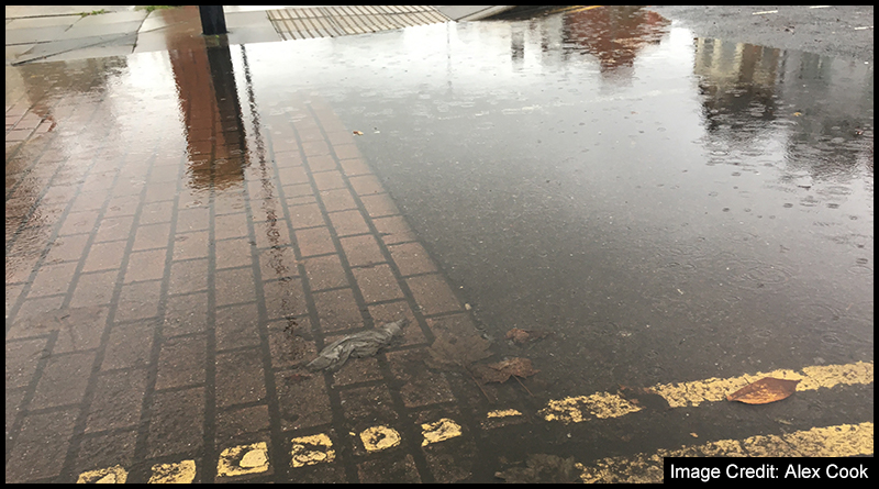 At the end of Myrtle Street, as it joins to Southfield Road, is a spot that continuously floods when it rains