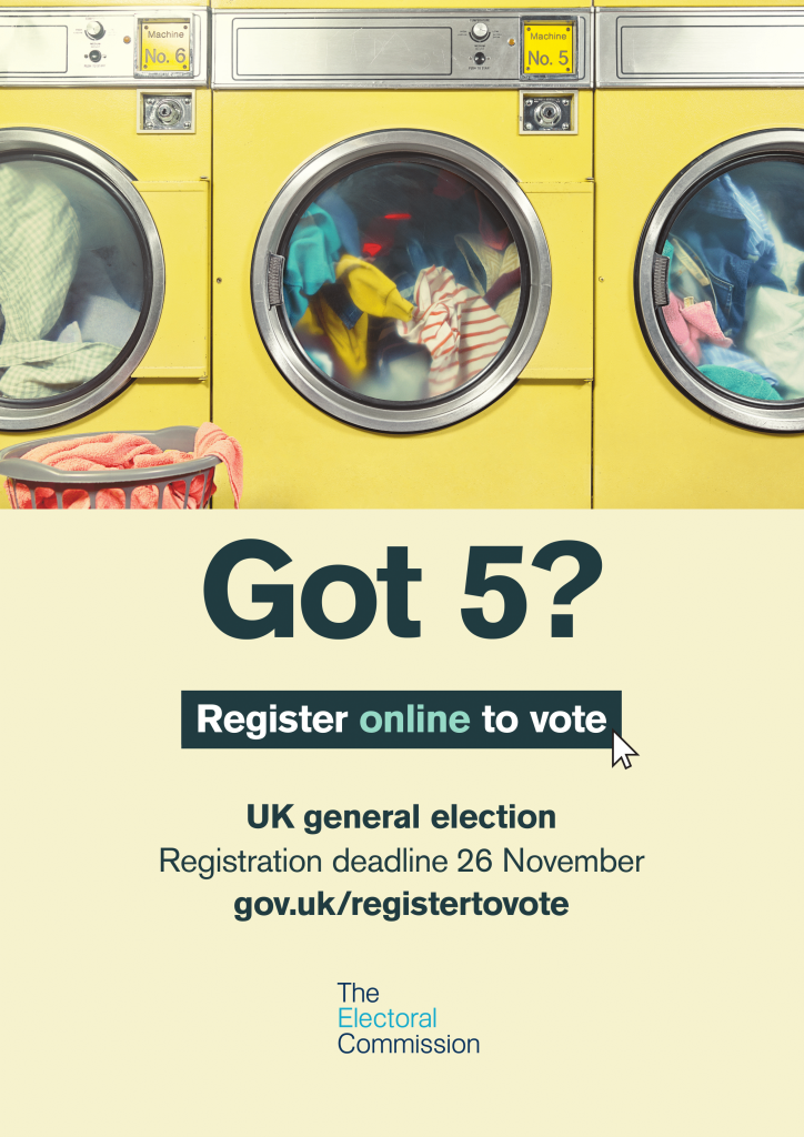 Got 5 - Register online to vote - UK General Election deadline 26 November