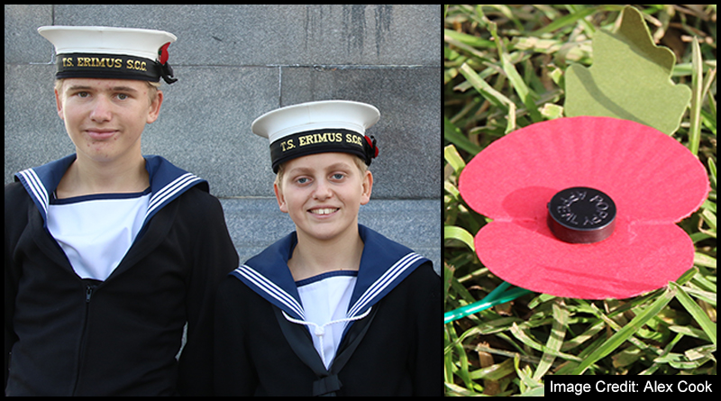Middlesbrough Sea Cadets Josh and Jack Chapman (left) and Riley Grayson's touching personal contribution to the fallen (right) after Sunday's Remembrance Service
