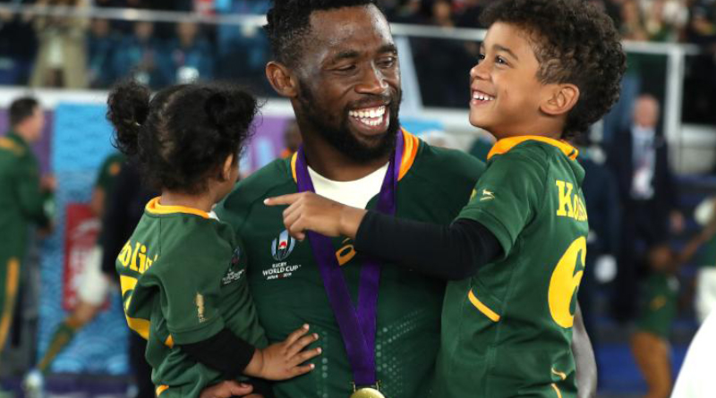 Captain of the South African rugby team, Siya Kolisi, shortly after leading his team to glory in the Rugby World Cup final against England